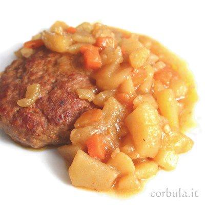 Hamburger con verdure in padella, ricetta